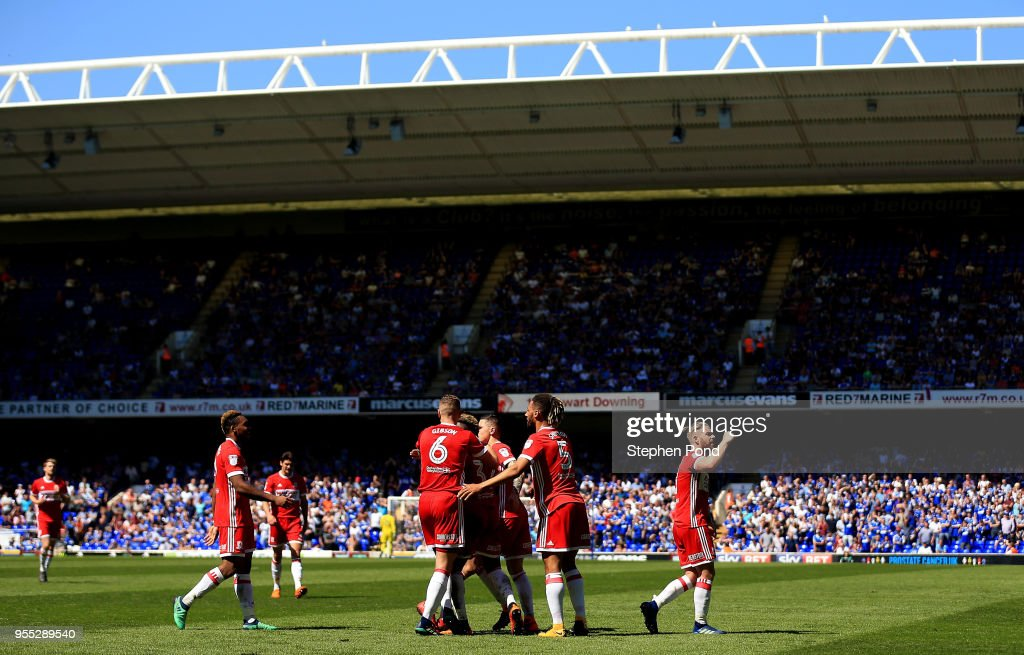 Stewart Downing of Middlesbrough celebrates scoring to level the match 1-1 during the Sky Bet Championship match between Ipswich Town and Middlesbrough at Portman Road on May 6, 2018 in Ipswich, England.