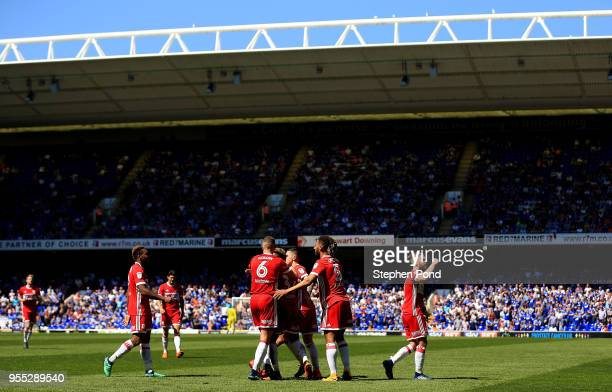 Stewart Downing of Middlesbrough celebrates scoring to level the match 11 during the Sky Bet Championship match between Ipswich Town and...