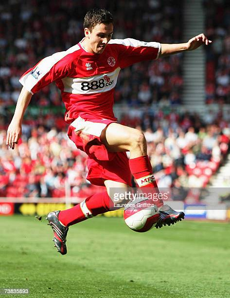 Stewart Downing of Middlesbrough in action during the Barclays Premiership match between Middlesbrough and Watford at The Riverside Stadium on April...