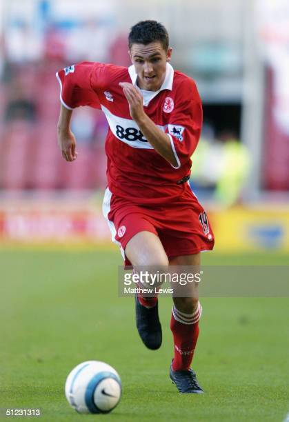 Stewart Downing of Middlesbrough in action during the FA Barclays Premiership match between Middlesbrough and Crystal Palace at The Riverside Stadium...