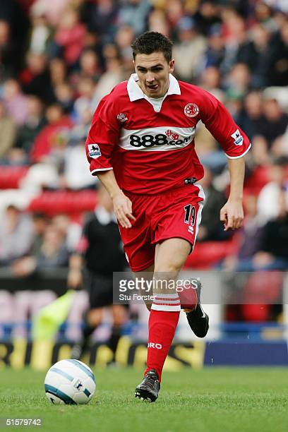 Stewart Downing of Middlesbrough in action during the FA Barclays Premiership match between Blackburn Rovers and Middlesbrough at Ewood Park on...