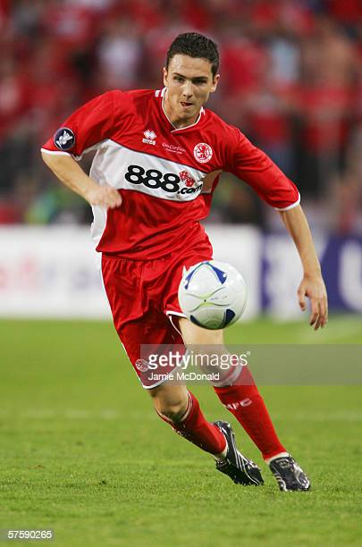 Stewart Downing of Middlesbrough in action during the UEFA Cup final between Middlesbrough FC and Sevilla FC on May 10, 2006 at the PSV Stadion in...
