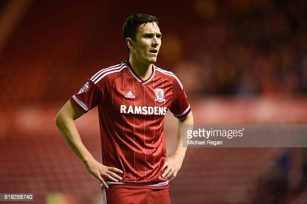 Stewart Downing of Middlesbrough looks on during the Sky Bet Championship match between Middlesbrough and Huddersfield Town on April 5 2016 in...