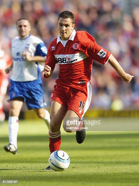 Stewart Downing of Middlesbrough runs with the ball during the FA Barclays Premiership match between Middlesbrough and Crystal Palace at The...