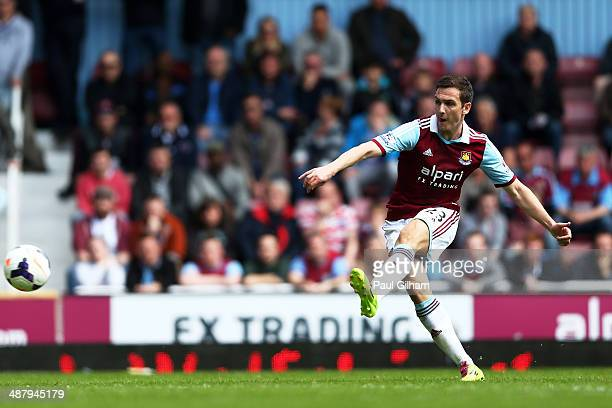 Stewart Downing of West Ham scores his team'second goal from a free kick during the Barclays Premier League match between West Ham United and...