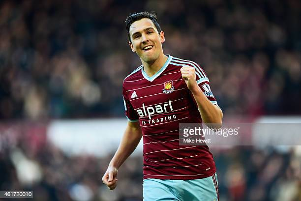 Stewart Downing of West Ham United celebrates as he scores their third goal during the Barclays Premier League match between West Ham United and Hull...