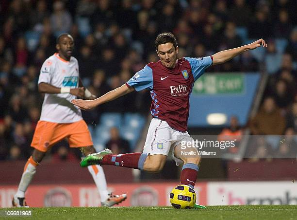 Stewart Downing scores for Aston Villa during the Barclays Premier League match between Aston Villa and Blackpool at Villa Park on November 10 2010...