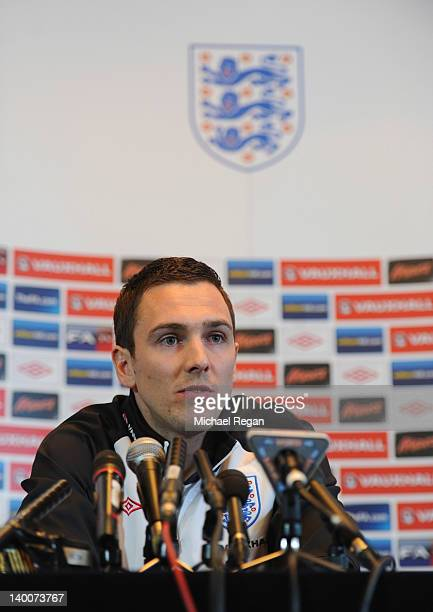 Stewart Downing speaks to the media during the England Press conference at The Grove Hotel on February 27 2012 in Hertford England