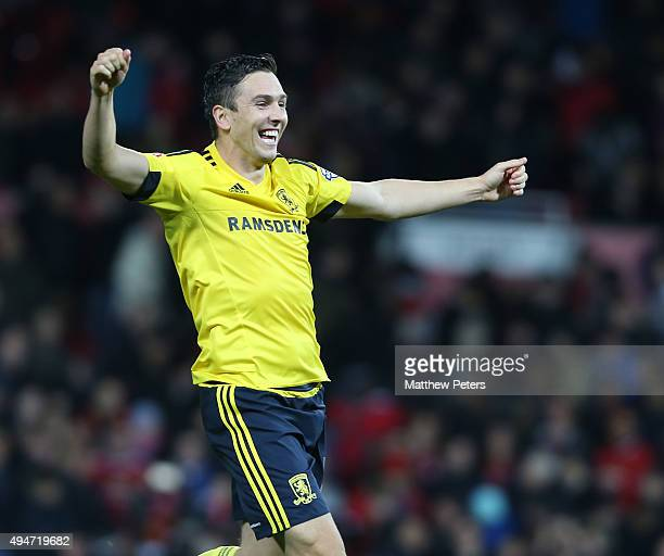 Stewart Downingof Middlesbrough celebrates after the Capital One Fourth Round match between Manchester United and Middlesbrough at Old Trafford on...