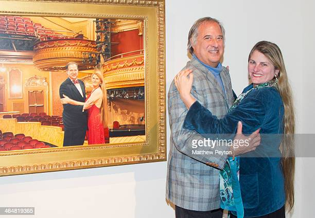 Stewart F Lane aka 'Mr Broadway' and Bonnie Comley attend the Max Ferguson Exhibition At Gallery Henoch To Benefit Edwin Gould Foundation at Gallery...