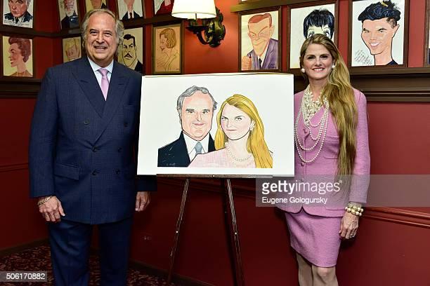 Stewart F Lane and Bonnie Comley attend the Sardi's Unveils Portrait Of Tony Award Winning Producers Stewart F Lane And Bonnie Comley At Champagne...