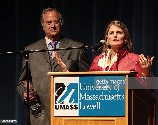 Stewart F Lane and Bonnie Comley attend the UMass Lowell Champion of the Arts Award on Thursday April 23 at UMass Lowell in Lowell Massachusetts