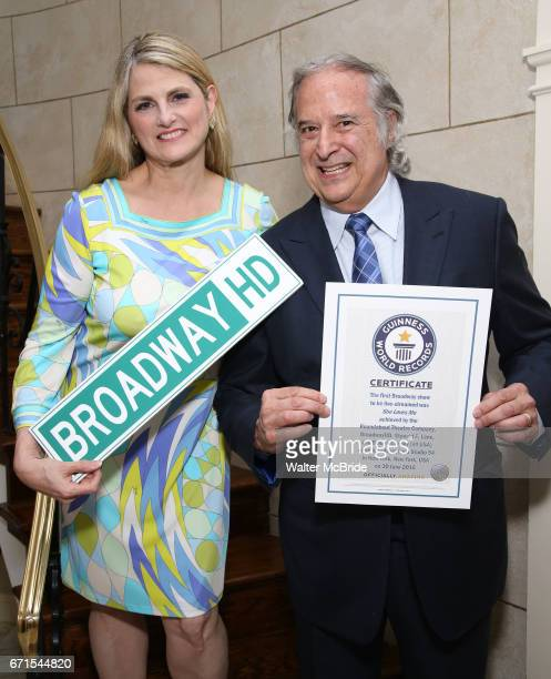 Stewart F Lane and Bonnie Comley pose with Guinness World Records Certificate Achieved By BroadwayHD for the First Broadway Show 'She Loves Me' to be...