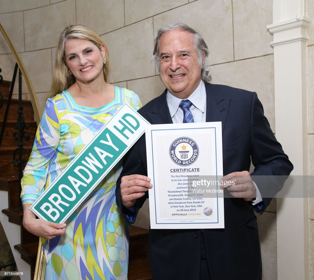 Stewart F. Lane and Bonnie Comley pose with Guinness World Records Certificate Achieved By BroadwayHD for the First Broadway Show, 'She Loves Me', to be live streamed at the home of Stewart F. Lane & Bonnie Comley on April 21, 2017 in New York City.
