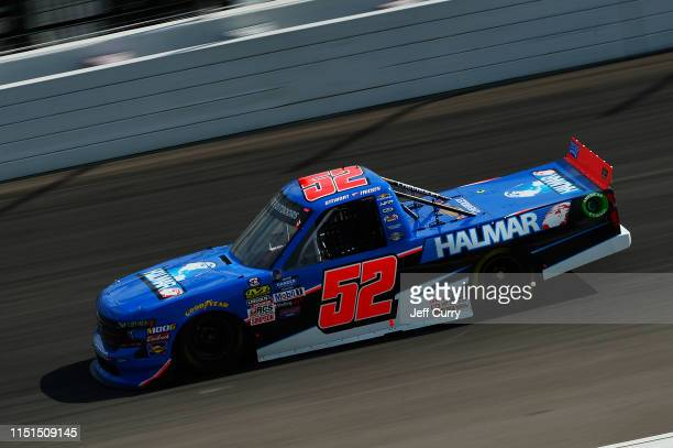 Stewart Friesen driver of the Halmar International Chevrolet drives during practice for the NASCAR Gander Outdoors Truck Series CarShield 200...
