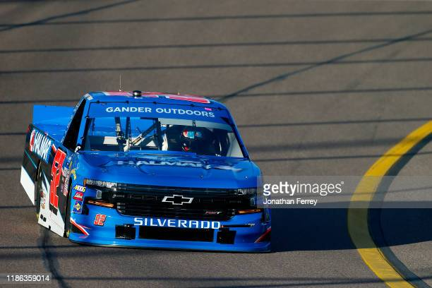 Stewart Friesen driver of the Halmar International Chevrolet practices for the NASCAR Gander Outdoors Truck Series Lucas Oil 150 at ISM Raceway on...