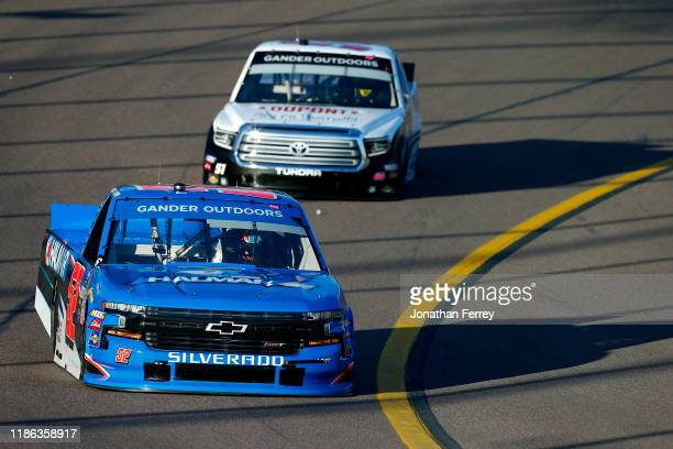 Stewart Friesen driver of the Halmar International Chevrolet leads Brandon Jones driver of the DuPont Air Filtration Toyota during practice for the...