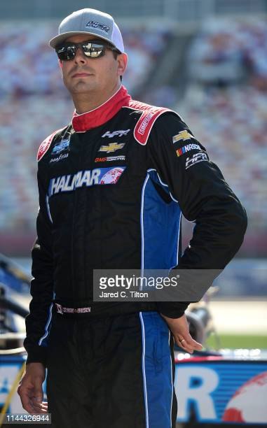 Stewart Friesen driver of the Halmar International Chevrolet looks on during qualifying for the NASCAR Gander Outdoors Truck Series North Carolina...