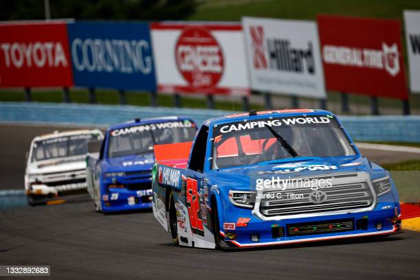 Stewart Friesen, driver of the Halmar International Toyota, drives during the NASCAR Camping World Truck Series United Rentals 176 at Watkins Glen...