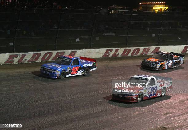 Stewart Friesen driver of the We Build America Chevrolet Austin Self driver of the GO TEXAN Chevrolet and Todd Gilliland driver of the JBL SiriusXM...