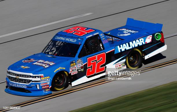 Stewart Friesen driver of the We Build America Chevrolet drives during practice for the NASCAR Camping World Truck Series Fr8Auctions 250 at...