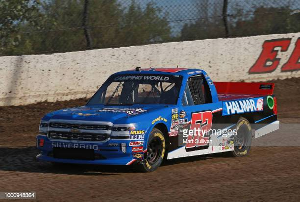 Stewart Friesen driver of the We Build America Chevrolet practices for the NASCAR Camping World Truck Series Eldora Dirt Derby at Eldora Speedway on...