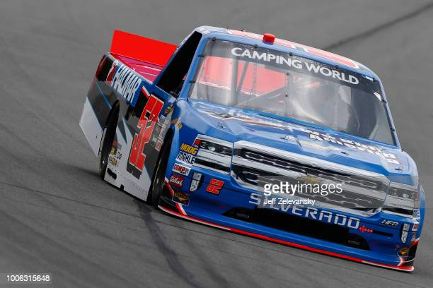 Stewart Friesen driver of the We Build America Chevrolet practices for the Nascar Camping World Truck Series Gander Outdoors 150 at Pocono Raceway on...