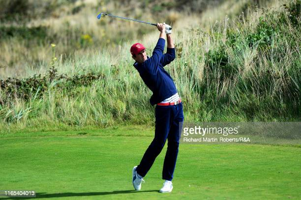 Stewart Hagestad of the United States tees off during a practice round at Royal Birkdale Golf Club prior to the 2019 Walker Cup on September 1 2019...