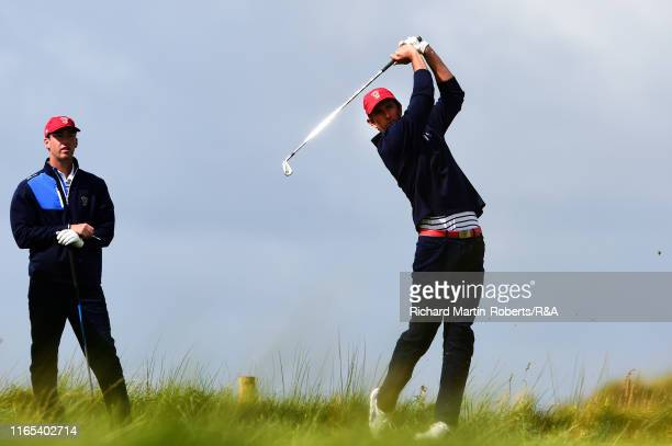Stewart Hagestad of the United States tees off on the 8th hole during a practice round at Royal Birkdale Golf Club prior to the 2019 Walker Cup on...