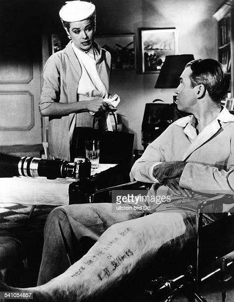 Stewart James Actor USA * Scene from the movie 'Rear Window'' with Grace Kelly Directed by Alfred Hitchcock USA 1954 Produced by Paramount Pictures...