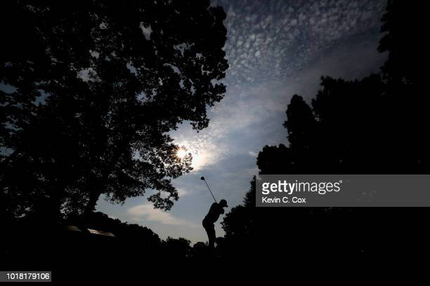 Stewart Jolly plays his shot from the second tee during the second round of the Wyndham Championship at Sedgefield Country Club on August 17 2018 in...