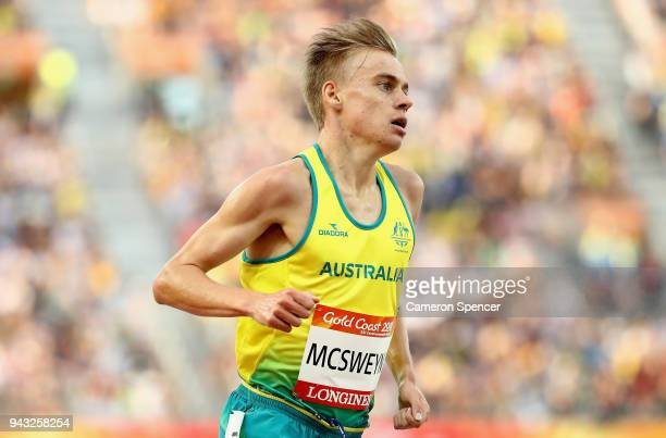 Stewart McSweyn of Australia competes in the Men's 5000 metres final on day four of the Gold Coast 2018 Commonwealth Games at Carrara Stadium on...