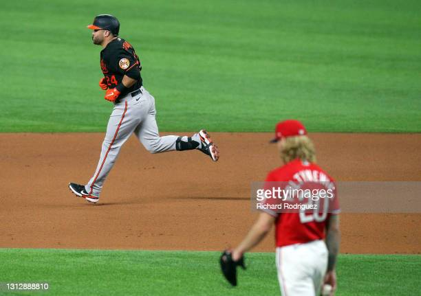 Stewart of the Baltimore Orioles runs the bases after hitting a two-run home run off of Mike Foltynewicz of the Texas Rangers in the fifth inning at...