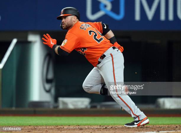 Stewart of the Baltimore Orioles runs to first on an RBI single against the Texas Rangers in the ninth inning of the MLB game at Globe Life Field on...