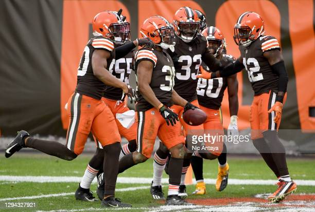Stewart of the Cleveland Browns celebrates his interception against the Pittsburgh Steelers in the third quarter at FirstEnergy Stadium on January...