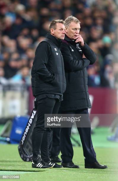 LR Stewart Pearce and West Ham United manager David Moyes during Premier League match between West Ham United against Arsenal at The London Stadium...