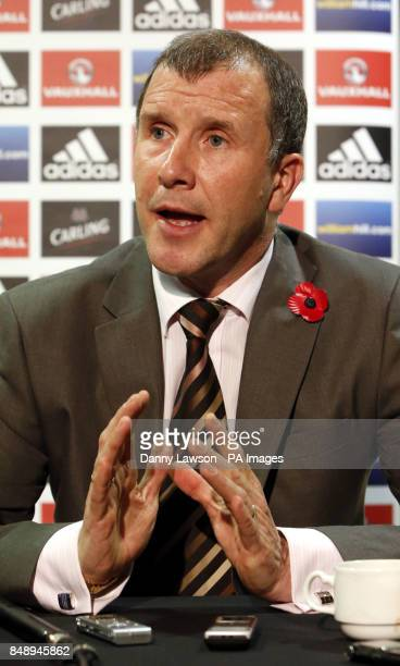 Stewart Regan Chief Executive of the Scottish Football Association during a press conference at Hampden Park Glasgow