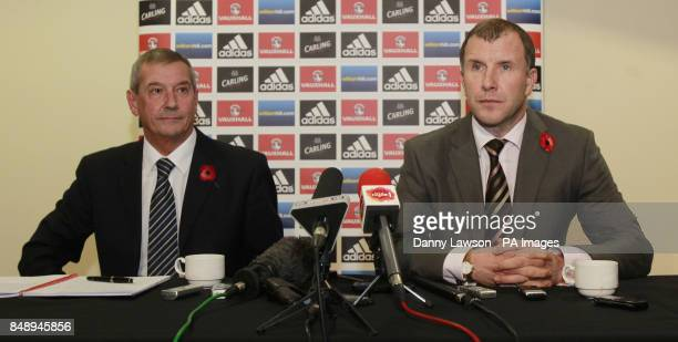 Stewart Regan Chief Executive of the Scottish Football Association with Campbell Ogilvie President of the President of the Scottish Football...