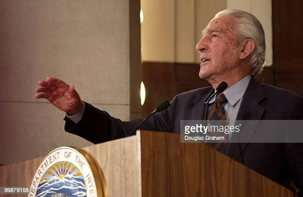 Stewart Udall during a ceremony honoring him and the late Rep Morris Udall DAriz by opening a traveling museum exhibit titled The Udall Brothers...