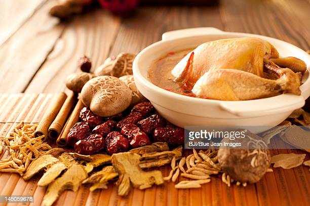 stewed chick with mushrooms - chicken soup stock photos and pictures