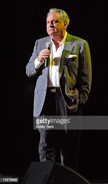 Stewie Stone performs with Frankie Valli and The Four Seasons on stage at the Mountain Laurel Center on June 30 2007 in Bushkill Falls Pennsylvania