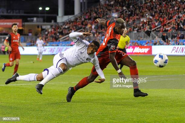 BMO FIELD TORONTO ONTARIO CANADA Stéfano Pinho and Chris Mavinga seen fighting for the ball during 2018 MLS Regular Season match between Toronto FC...