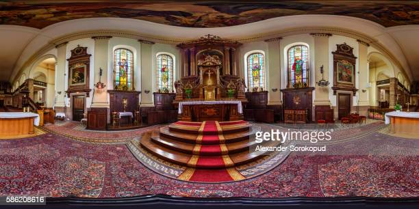 St.George church interior in Epfig, France. 360-degree panorama.