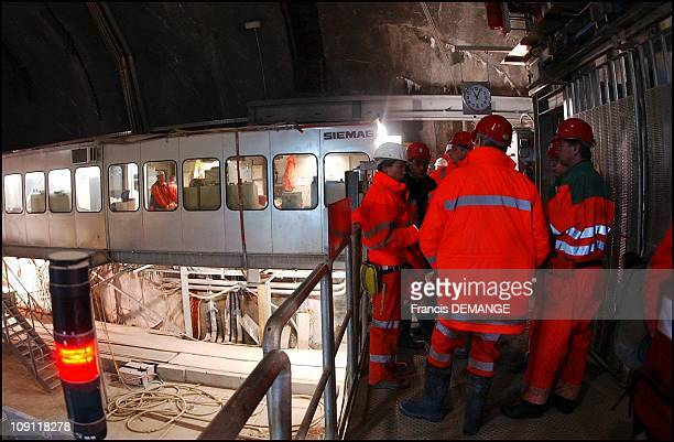 StGothard The Longest Tunnel In The World Pierces Through The Heart Of The Alps On November 1 2003 In Sedrun Switzerland Sedrun A Team Of Minors...