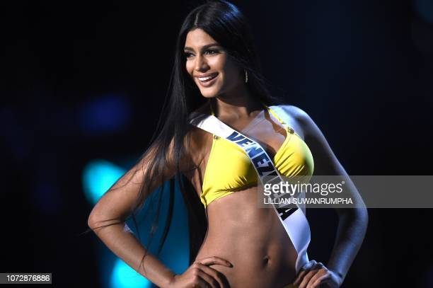 Sthefany Gutierrez of Venezuela competes in the swimsuit competition during the 2018 Miss Universe pageant in Bangkok on December 13 2018