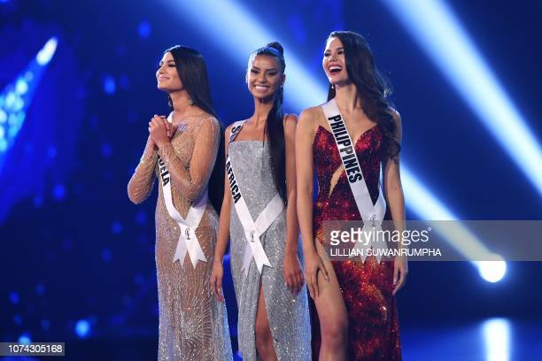 Sthefany Gutierrez of Venezuela Tamaryn Green of South Africa and Catriona Gray of the Philippines stand on stage after being selected as top three...