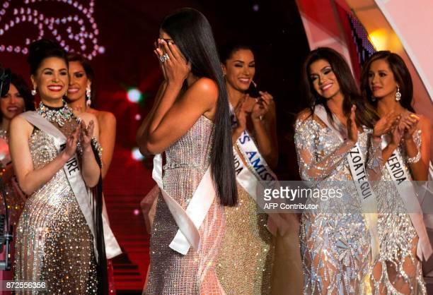 Sthefany Gutierrez reacts after winning the Miss Venezuela 2017 beauty peageant in Caracas on November 9 2016 18yearold law student Sthefany...