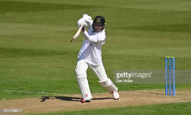 Stiaan van Zyl of Sussex bats during day two of the LV= Insurance County Championship match between Glamorgan and Sussex at Sophia Gardens on April...