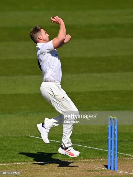 Stiaan van Zyl of Sussex bowls during day one of the LV= County Championship match between Glamorgan and Sussex at Sophia Gardens on April 15, 2021...