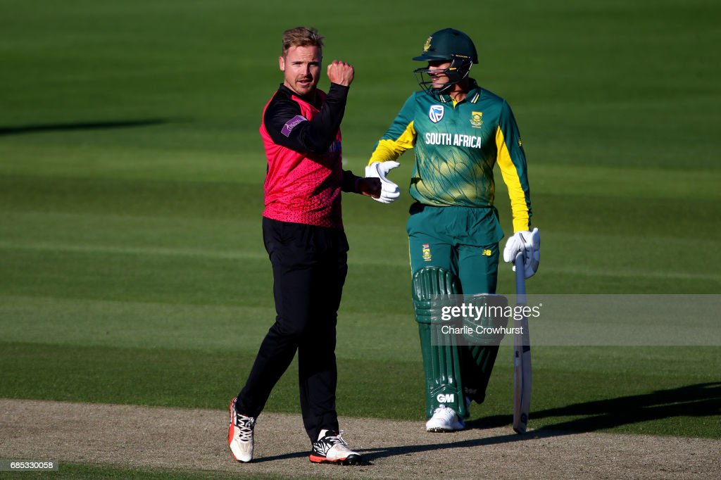 Stiaan van Zyl of Sussex celebrates after taking the wicket of Wayne Parnell of South Africa during the Tour Match between Sussex and South Africa at The 1st Central County Ground on May 19, 2017 in Hove, England.